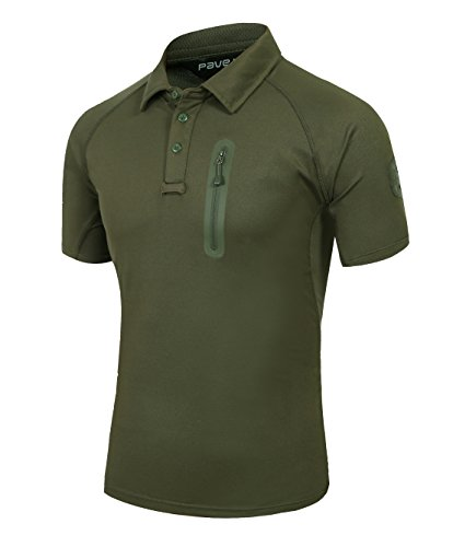 TACVASEN Mens Camouflage Camo Performance Tactical Short Sleeve Polo T-Shirt