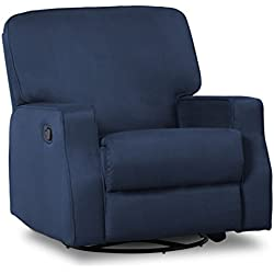 Delta Children Caleb Nursery Recliner Glider Swivel Chair, Navy