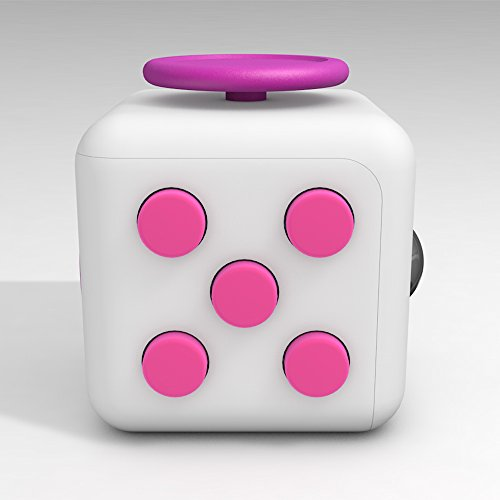 D-JOY Cube Fidget Toy Cube Relieves Stress and Anxiety Attention Toy for Work, Class, Home (White Rose)