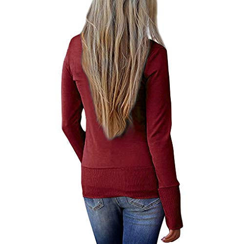 V maglione purpureo Casual manica maglia a della Slim ragazza con a Babysbreath17 lavoro di cardigan rosso lunga Solid scollo Donna Bottoni OdxqwRa