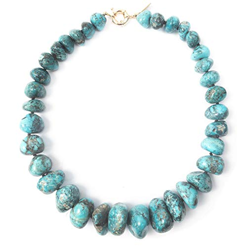 (AAA Quality Undyed Mexican Nacozari Turquoise Nugget Necklace - 18 inches Long Handmade Necklace by Miller Mae Designs)