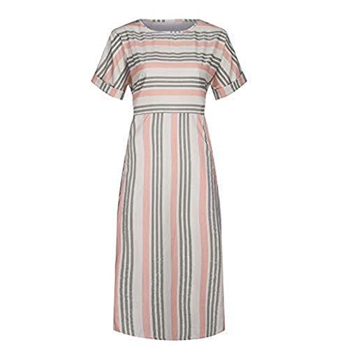 (✿HebeTop✿ Women Sexy Deep O-Neck Short Sleeve Stripe Print A Line Long Dress Yellow)