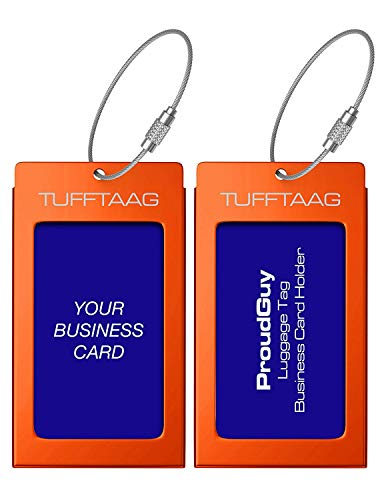 Luggage Tags Business Card Holder TUFFTAAG PAIR Travel ID Bag Tag - Deep Amber - Id Tag Bar