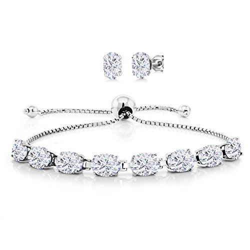 925 Sterling Silver Tennis, Graduated Bracelet Earrings Set Forever One (GHI) Oval 13.80ct (DEW) Created Moissanite by Charles & Colvard from Gem Stone King
