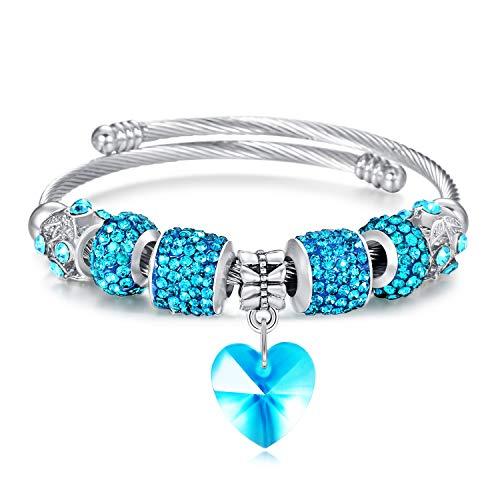 (Tree of Life Beaded Bracelet Bangle Jewelry Adjustable Stainless Steel Fashion Pendant Bracelet for Teen Girls Women(Blue Heart))
