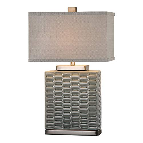 Uttermost 27713-1 Virelles - One Light Table Lamp, Sage Gray/Brushed Nickel Finish with Light Beige Linen Fabric Shade ()