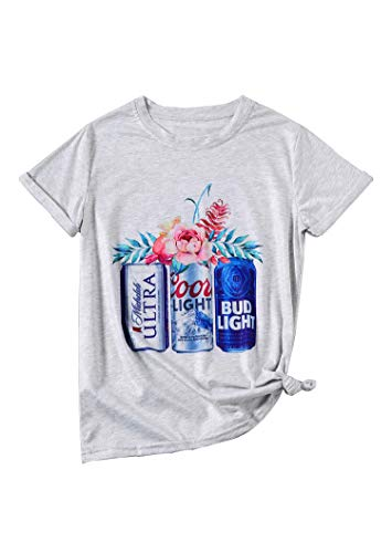 Women Coors Light Bud Light Drinking T-Shirt Short Sleeve Funny Casual Beer Graphic Tees Tops (M) White