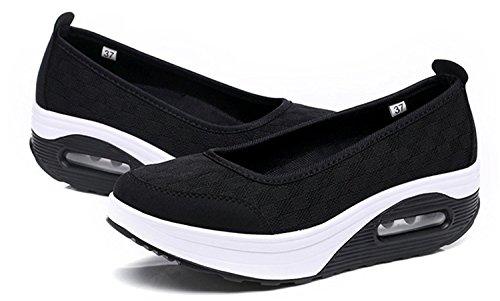 Plataforma Hishoes de Zapatos Respirable Negro Zapatilla Mujer Deporte Deporte Cuña de Andar Plataforma Sandalias Malla qqrfwz