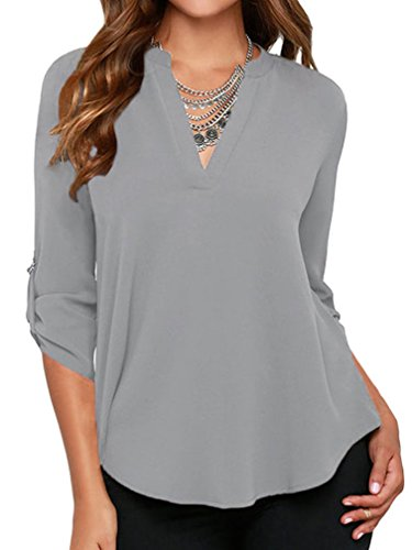 Grace Elbe Women's Casual V Neck Cuffed Sleeves Solid Chiffon Blouse Top Grey Small