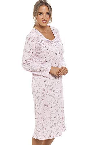 Rosa Fuwuxin Da A Stampa Camicia Notte Home Maniche Floreale Classica Con Lunghe TqTfIgw