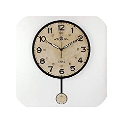 Silent Large Decorative Wall Clock Vintage Round Wall Clock Home Decor Home Wall Watches,Style 4,12 Inch
