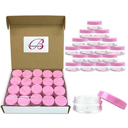 (Quantity: 40 Pieces) Beauticom 10G/10ML Round Clear Jars with Pink Lids for Lotion, Creams, Toners, Lip Balms, Makeup Samples - BPA Free