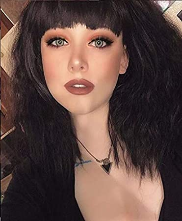 Enilecor Short Fluffy Bob Kinky Straight Hair Wigs With Bangs Synthetic Heat Resistant Women Fashion Hairstyles Custom Cosplay Party Wigs Wig