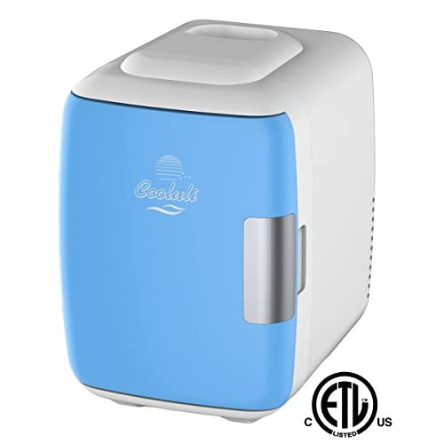 Cooluli Mini Fridge Electric Cooler and Warmer (4 Liter/6 Can): AC/DC Portable Thermoelectric System w/Exclusive On the Go USB Power Bank Option (Blue)