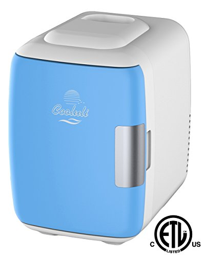 Cooluli Classic 4-liter Compact Cooler/Warmer Mini Fridge for Cars, Road Trips, Homes, Offices and Dorms (Blue)