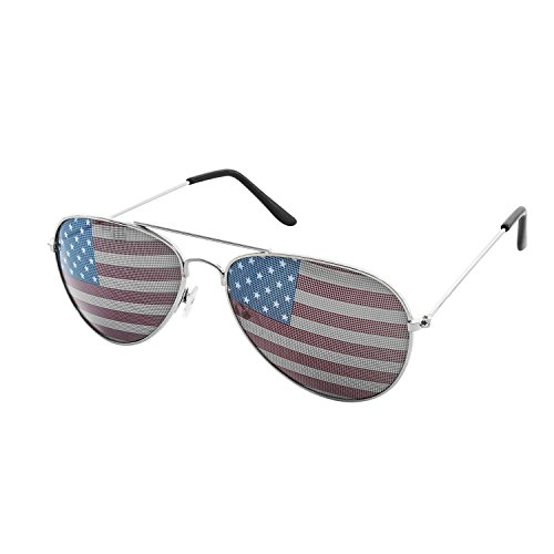 American USA Flag Design Metal Frame Aviator Unisex Sunglasses with Print Patterned Lens for Sun Protection, Driving, Eye Wear by Super Z Outlet (Silver)