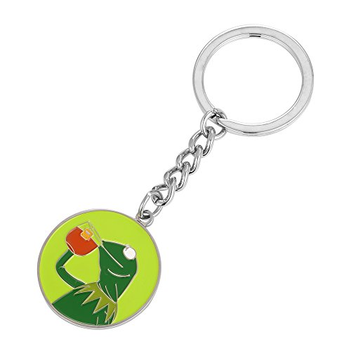 - Kermit Frog Drinking Tea That's None of My Business Keyring Key Chain