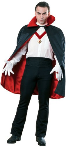 (Deluxe Reversible Satin Cape, 45-Inches, Black/Red, One Size)