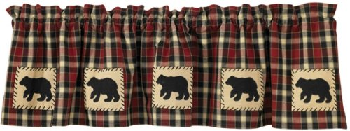 Cabin Window - Park Designs Concord Bear Lined Valance, 60 x 14