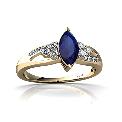 14kt Yellow Gold Lab Sapphire and Diamond 8x4mm Marquise Antique Style Ring - Size 8