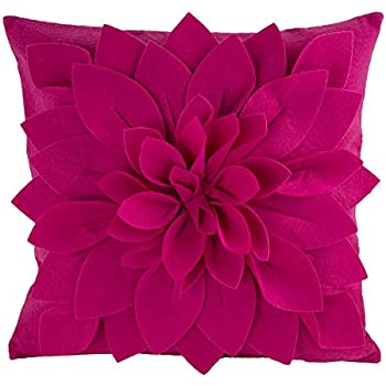 Throw Pillow Cover for Sofa Couch 16 X 16 Inches Damask Design 100/% Cotton Fabric Soft Accent Decorative Cushion Cases Collection by Value Homezz Set of 2 Fuschia /& White