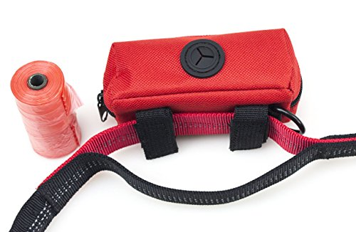 Primal Pet Gear Dog Poop Bag Holder Red, Leash Attachment Dispenser, 20 Bags Included Roll, Lightweight, Fits Any Dogs Lead, for Easy, Responsible Doggy Walking