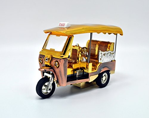 Tuk Tuk Thai Taxi Model Souvenir Toy Handmade Car Collectible Mini 3 Wheels Bangkok Thailand Gift Miniature Gold Metal Model Decorative Rickshaw