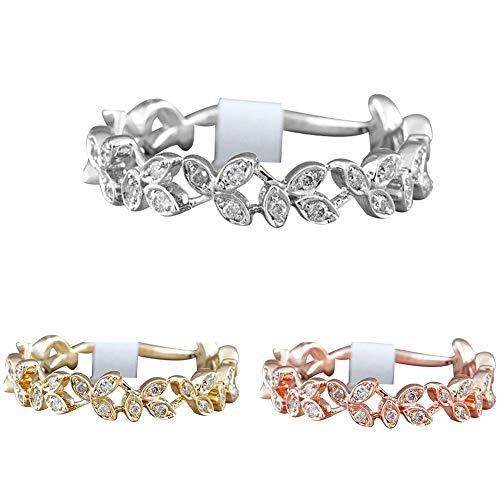 Slendima Exquisite Hollow Leaf Design Women Fashion Rhinestone Jewelry Engagement Wedding Ring Silver US 6 by Slendima (Image #5)