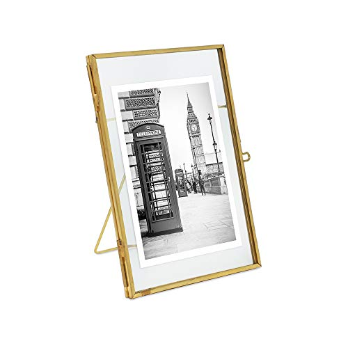 Isaac Jacobs 4x6, Antique Gold, Vintage Style Brass and Glass, Metal Floating Desk Photo Frame (Vertical), with Locket Closure for Pictures, Art, More