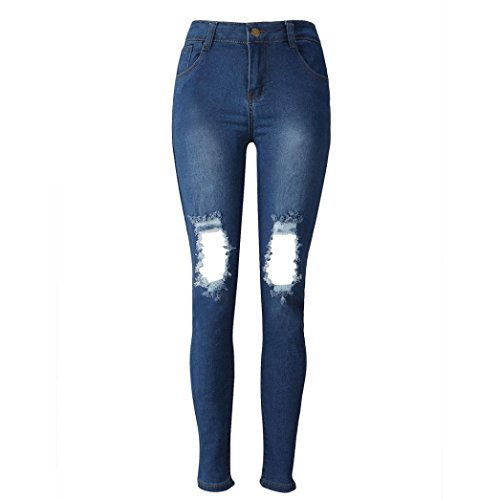Rotos Pantalones En La Rodilla Mujer LHWY, Pantalones Vaqueros LáPiz Pantalones Largos Delgados EláStico Jeans De Cintura Alta