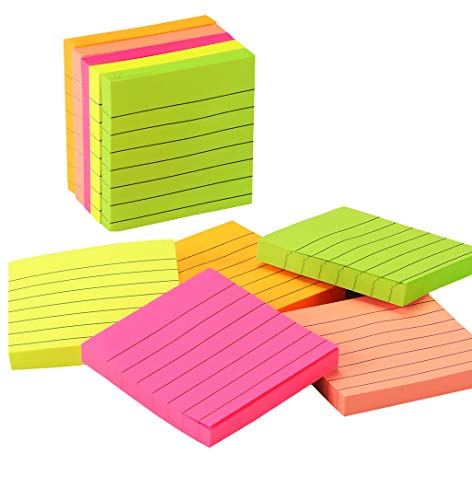 Medeer Sticky Notes 3x3 inches,100 Sheets/Pad,10 Pads/Pack,Bright Assorted Colors Self-Stick Pads Easy Post for Office School Business Family(Striped, 5 Colors)