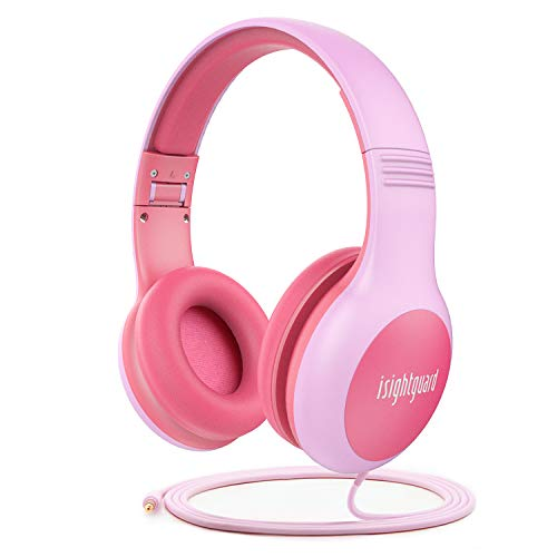 Kids Headphones, Isightguard Foldable Wired Over-Ear Headphones for Children with Music Sharing Function, 85dB Volume Limited, 3.5mm Jack for Smartphone/Computer/TV,Pink