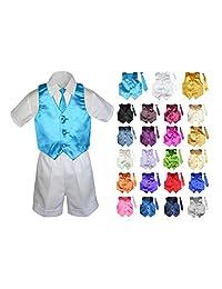 MILLTEX 4 Pieces Formal Party Wedding Color Satin Vest & Necktie Shirt White Shorts Set New Born Baby Boy Toddler Sm-4T
