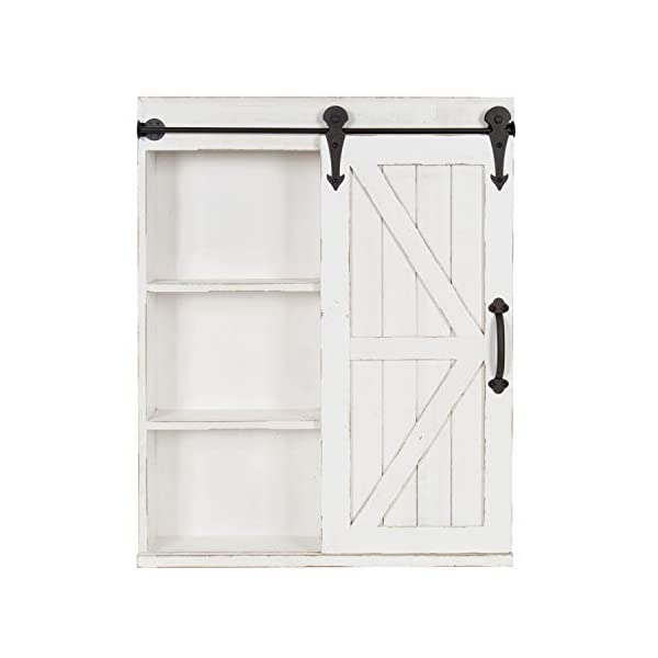 Kate and Laurel Cates Wood Wall Storage Cabinet with Vanity Mirror and Sliding Barn Door, Rustic White