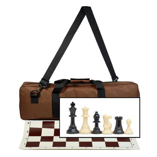 Deluxe Tournament Chess Set with Brown Canvas Bag with Heavy Weighted Staunton Chess Pieces - 3.75 Inch (Staunton Deluxe Chessmen Set)