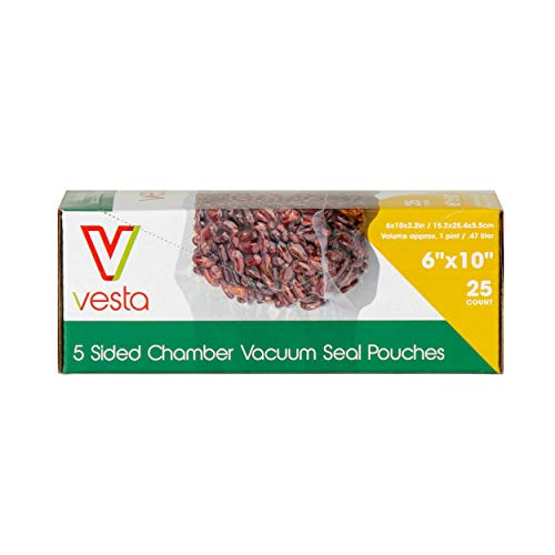 5-sided Chamber Vacuum Sealer Bags by Vesta Precision   Side Gusseted Vacuum Seal Pouches   Ideal for Liquids   FDA Approved   6 x 10 x 2.17 inches   25 Bags per Box