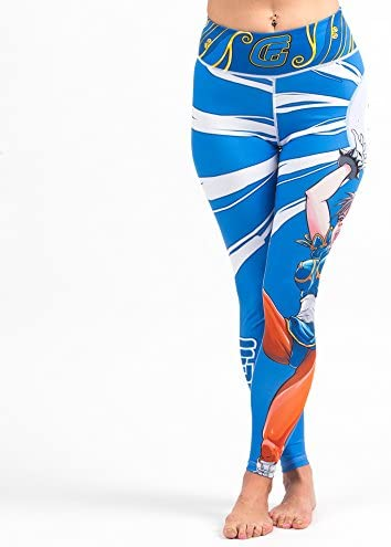 Fusion Fight Gear Street Fighter Chun Li Womens Leggings Spats Tights Yoga Compression Pants
