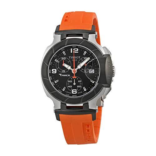 Tissot Women's T0482172705700 T-Race Black Chronograph Dial Orange Strap Watch