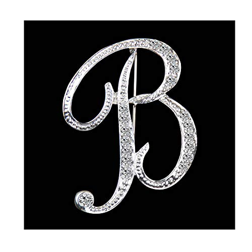 Dwcly Crystal Script Initial 26 Letter Brooch Pin A -Z Gold Plated Clear Natural Alphabet Monogram Lapel Badge (X) (B)