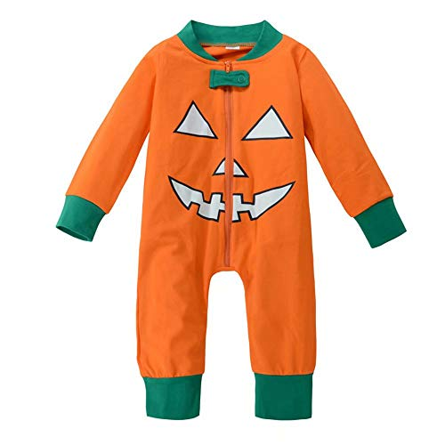 (Infant Baby Boys Girls Halloween Jumpsuit Pumpkin Smile Face Bodysuit Long Sleeve Orange Romper Clothes Set Size 18-24M/Tag100 (Orange))