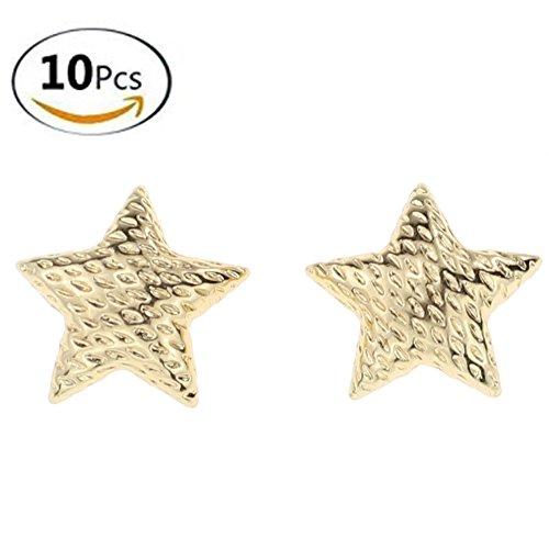 L-Queen 10 Pcs Golden Star Shape Rhinestone Buttons Crystal Diamond Buttons for DIY Craft Embellishments (Star-Shape) ()