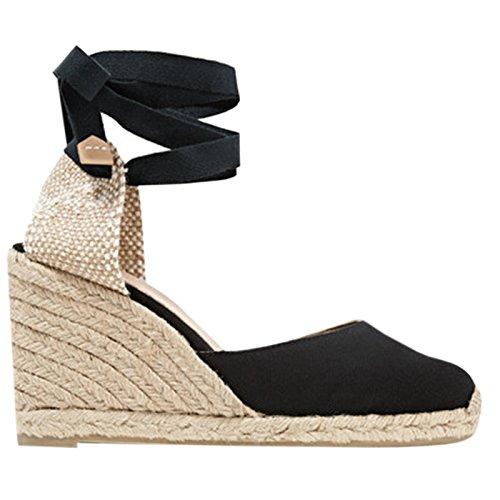 Syktkmx Womens Lace Up Platform Wedge Espadrille Heel Closed Toe Slingback D'Orsay Sandals