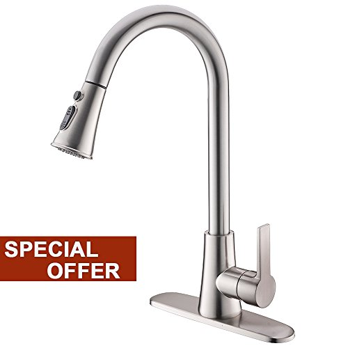U-turn 2 Tap - Lead-Free Commercial Stainless Steel High-Arch Brushed Nickel Single Handle Pull Down Sprayer Kitchen Sink Faucets, Kitchen Faucet with Deck Plate