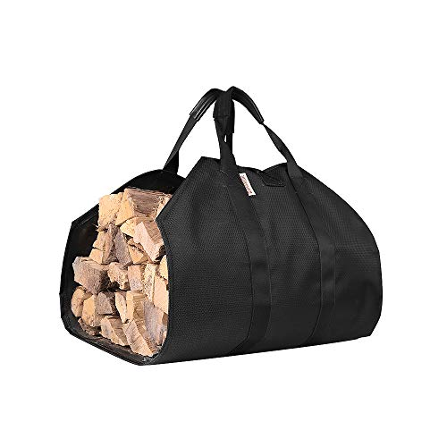 SWISSELITE Firewood Bag Carrier, Firewood Holder with Leather Handles, Fireplaces&Wooden Stove Storage Bag (Black Waterproof) ()
