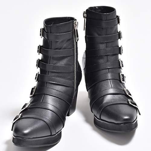 [エンデヴァイス] ショーツブーツ ヒールブーツ ハイヒールブーツ ベルテッドブーツ メンズ サイドベルト サイドジップ グラディエーター 紳士靴 V系 ヴィジュアル系 ビジュアル系 [ EPB400-1 ] 44(27.0cm) ブラック 黒