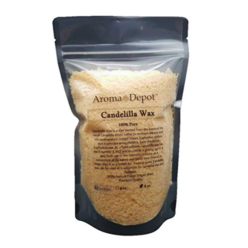 8 oz Candelilla Wax 100% Pure and Natural Small Flakes DIY Lip Balms and Lotion Bars (Vegan Wax) Alternative to Beeswax ()