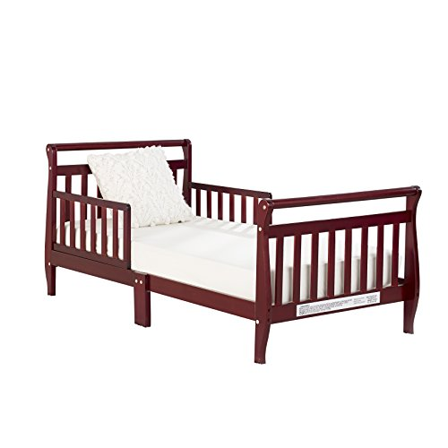 Big Oshi Classic Design Sleigh Toddler Bed - Sturdy Wooden Frame for Extra Safety - Modern Slat Design is Great for Boys and Girls - Low to Ground - Full Bed Frame With Headboard, in Cherry - Modern Cherry Frame