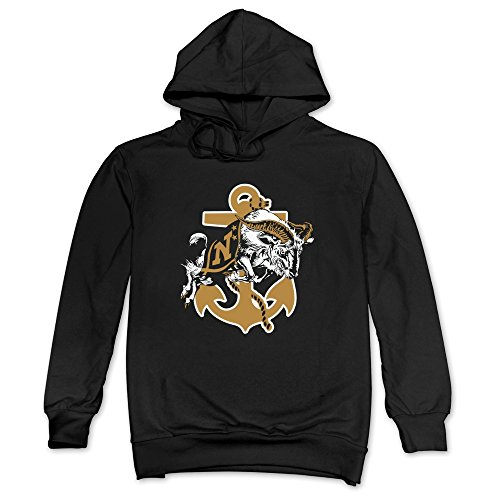(Mens Navy Midshipmen Football Hoodie Black 100% Cotton)