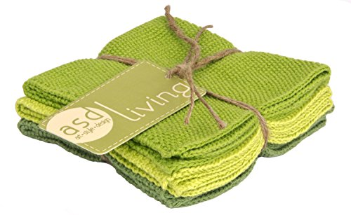 ASD Living Cotton Leaf Green Dishcloths (Set of 3) Solid x 10