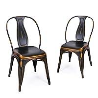 ELEGAN Metal Stackable Tolix Industrial Style Dining Chairs Vintage Black Bronze Indoor Outdoor Kitchen, Set of 2